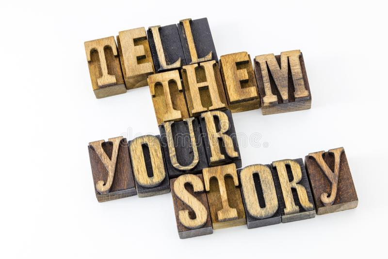 Letterpress mówi one twój opowieść zdjęcie stock