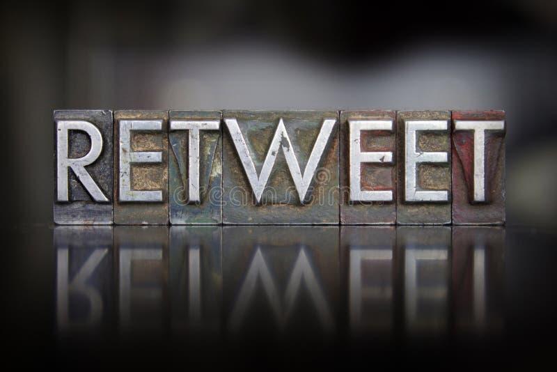 Letterpress Retweet стоковые изображения rf