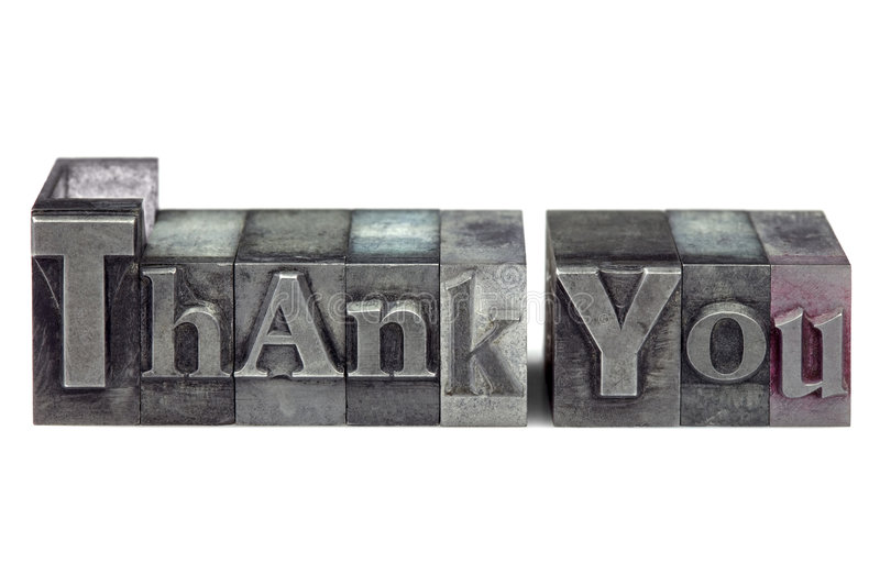 Letterpress Thank You royalty free stock photography