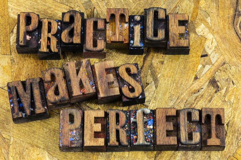 Practice makes perfect message royalty free stock image