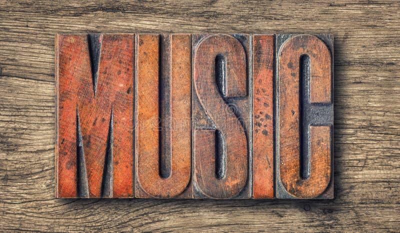 Letterpress wood type printing blocks - Music. Antique letterpress wood type printing blocks - Music stock photo