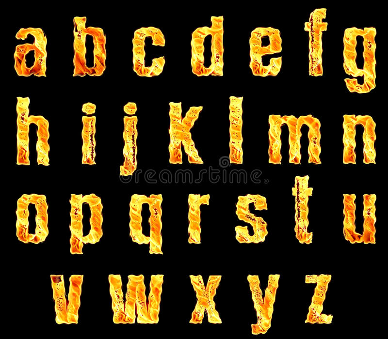 Letters of the Alphabet on Fire stock photos