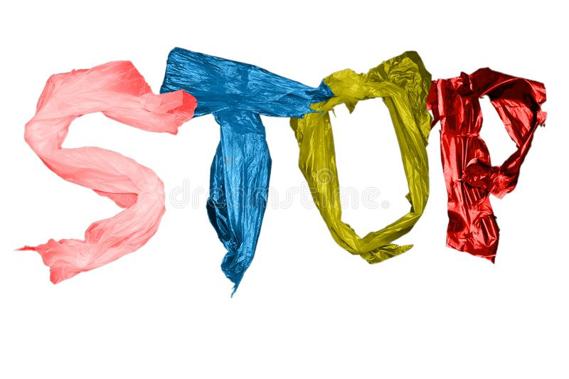Letters located on a blue background. Stop the poison of toxic decomposition of the plastic. Letters arranged in white background, isolate. Stop the poison of stock images