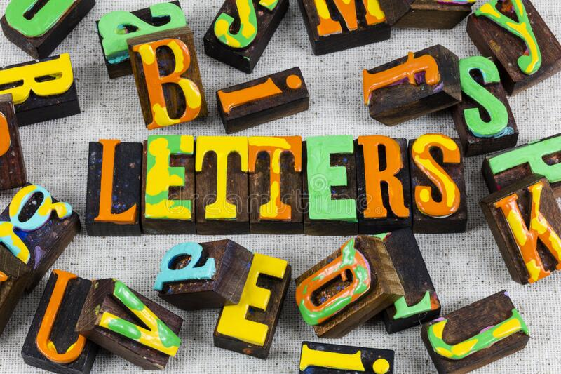 Letters background random painted wooden block letterpress type. Letters of background random painted wooden block with letterpress type will print words on royalty free stock photography