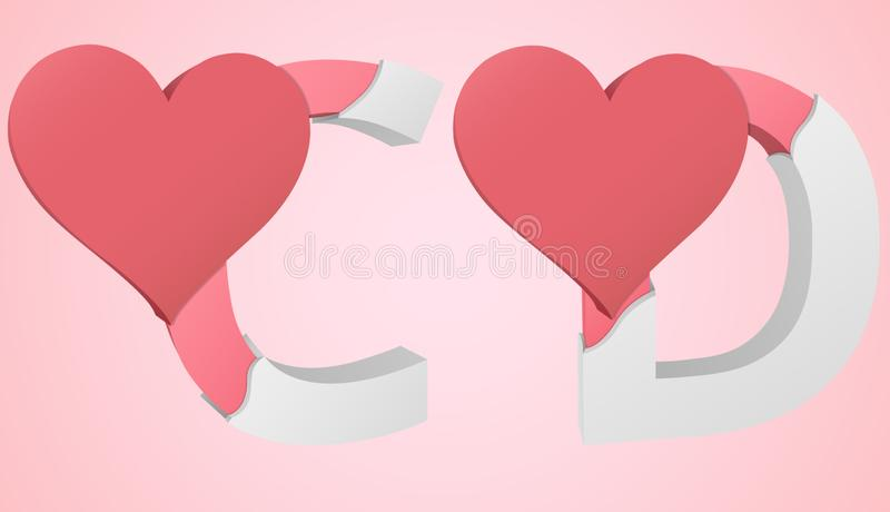 Font Heart C and D vector illustration