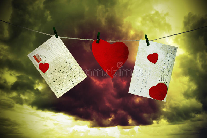 Download Letters And Cardboard Heart Hanging By A Thread Stock Photo - Image: 37148654