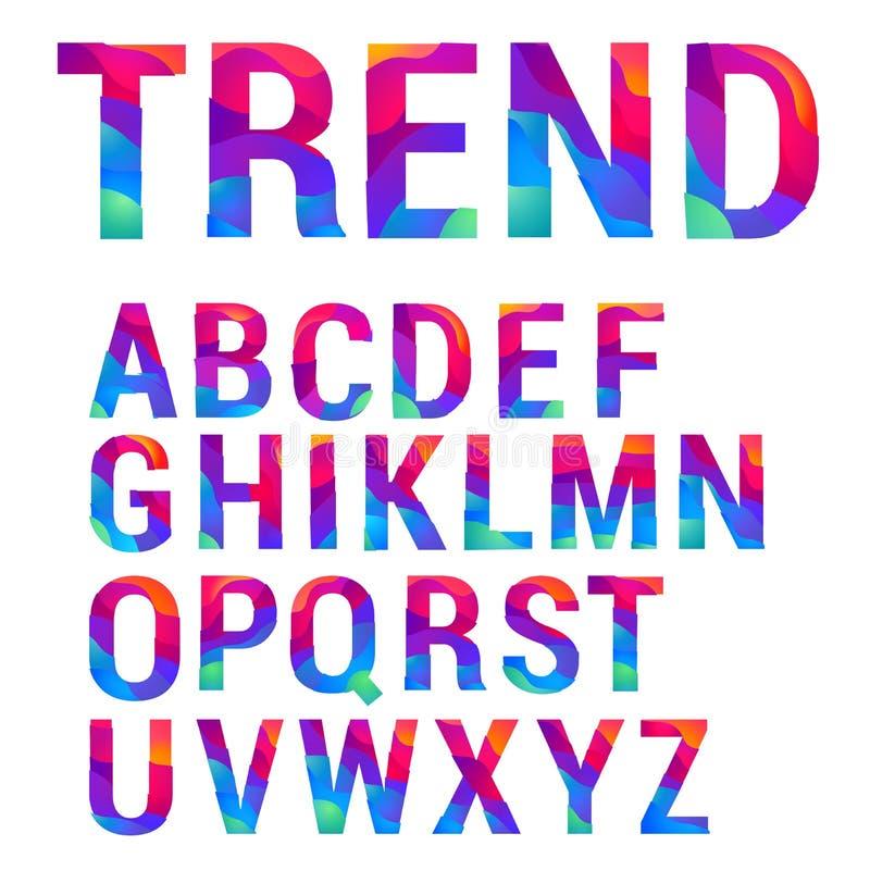 trendy material design vector letter set stock illustration
