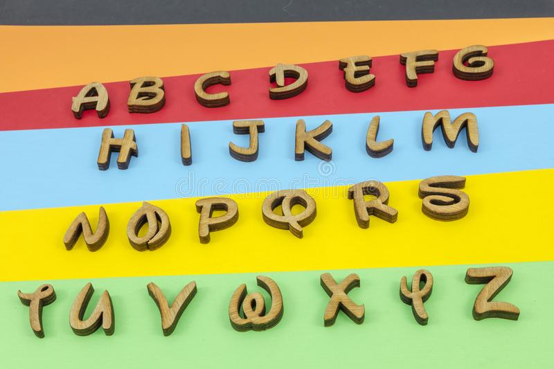 Letters colors learning alphabet wooden royalty free illustration