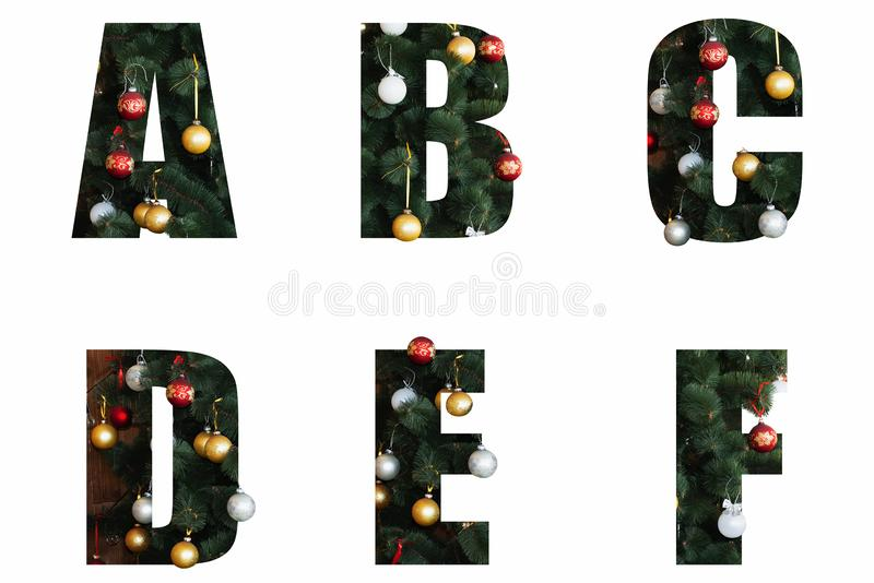 Letters decorated for the New Year and Christmas from a Christmas tree and toys. Nice Christmas Alphabet.New year letters of the alphabet a b d and f.Letters of stock images