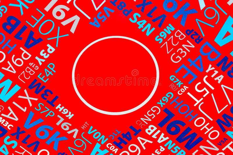 Letters and digits on red background macro royalty free stock photo