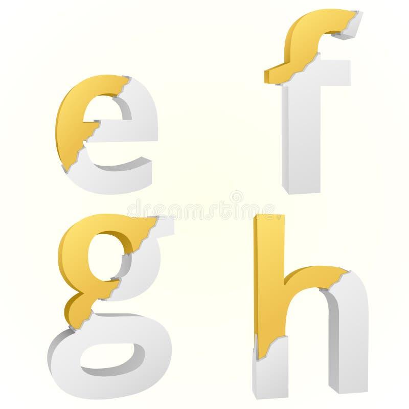 Font broken e to h stock illustration