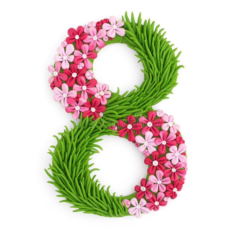 Letters eight handicraft. Handicraft eight clay letters handmade women`s day isolated number numeral stock illustration