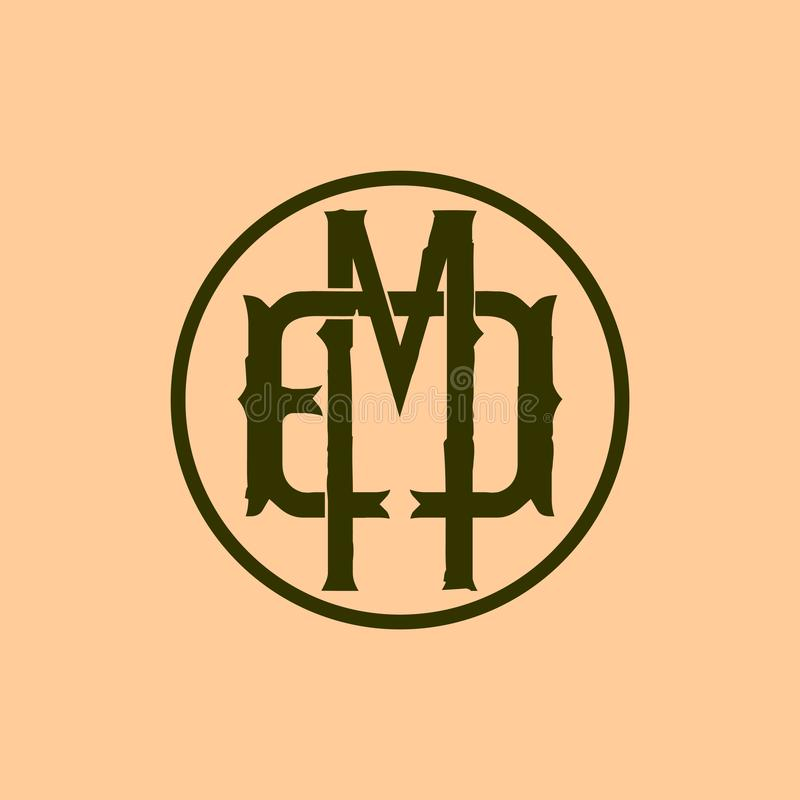 Letters EMD vector logo template. Retro theme stock illustration