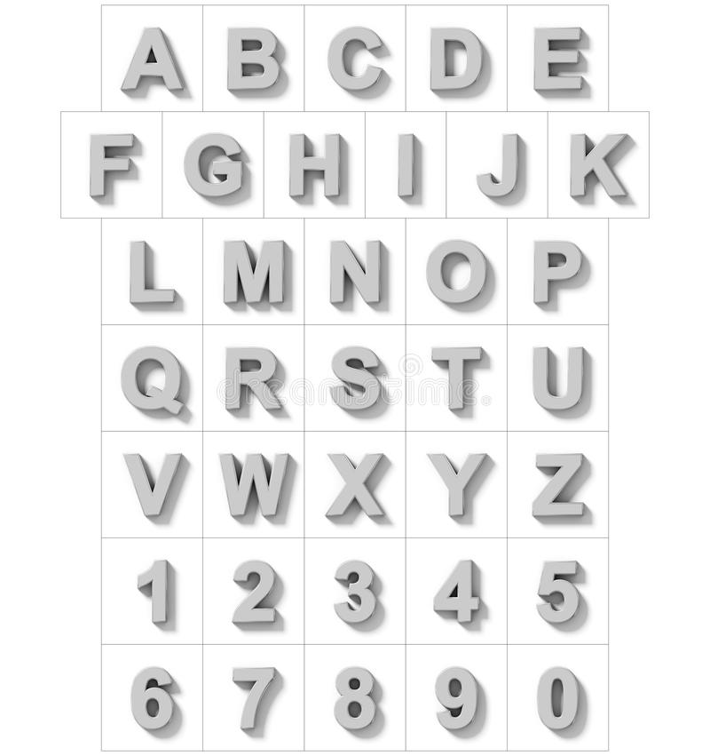 Letters en getallen 3D zilver op wit met schaduw wordt geïsoleerd die - of royalty-vrije illustratie