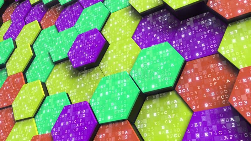 Letters en getallen op abstracte zeshoeken Informatietechnologie bracht het 3D teruggeven met elkaar in verband vector illustratie