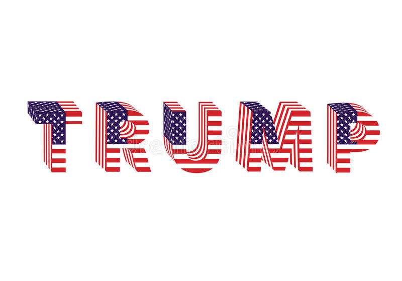 Letters from flag Trump Donald election table. Isolated royalty free illustration