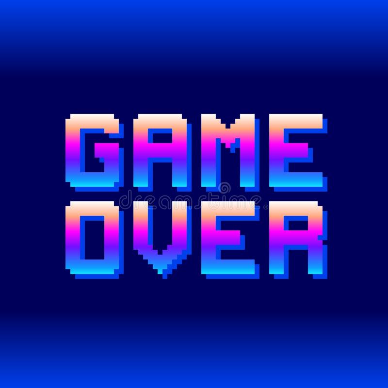 Retro Game Over Pixel Text. EPS8 Vector. Letters are formed out of compound shapes with the shadows on a separate layer stock illustration