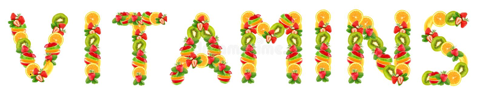 Letters are from fruit royalty free stock photography