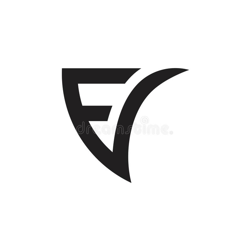 Letters fv fast movement geometric line logo vector royalty free illustration