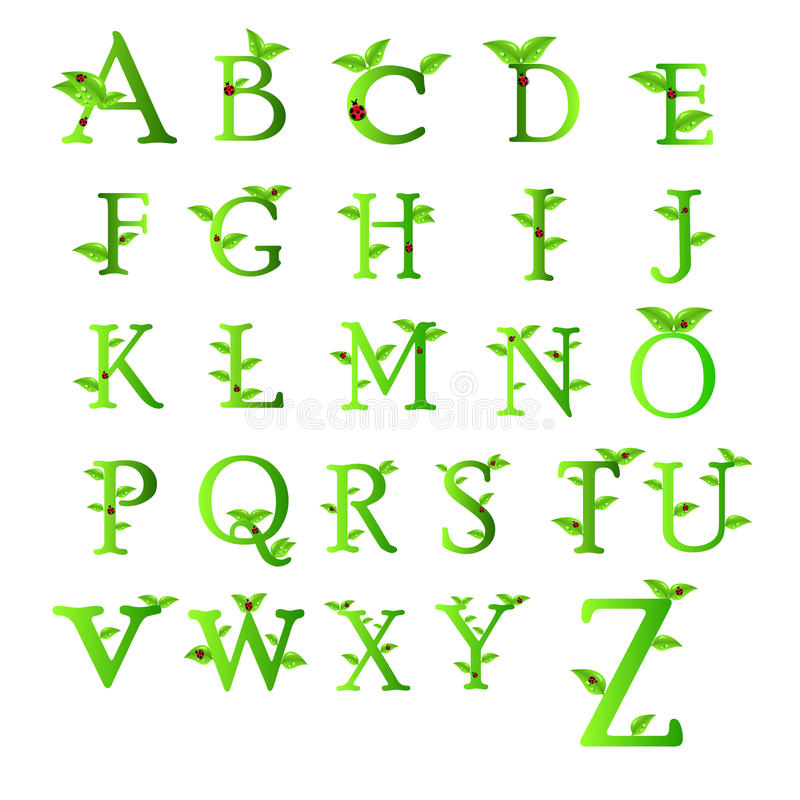 Letters of green Collection stock illustration