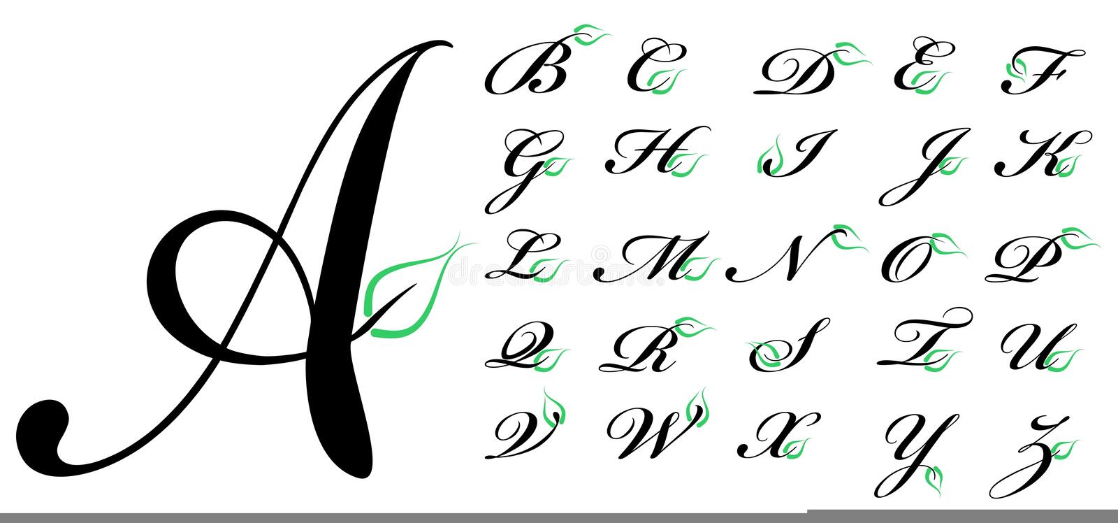 Letters with green leaf stock illustration