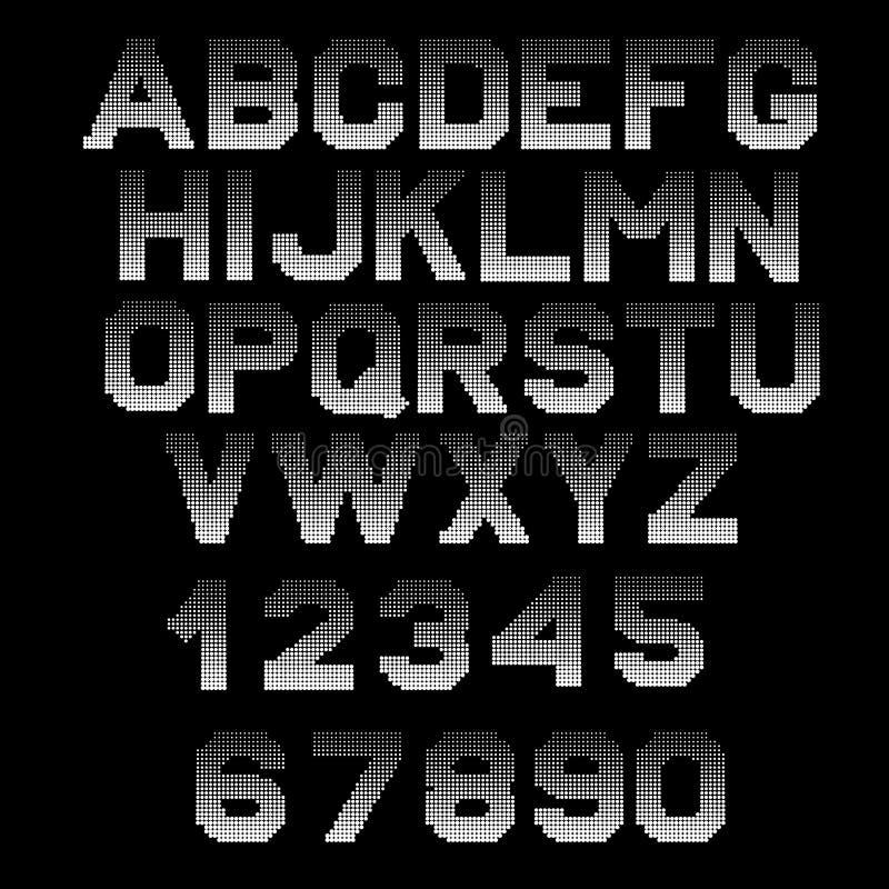Letters halftone effect . Dotted font vector illustration. royalty free illustration