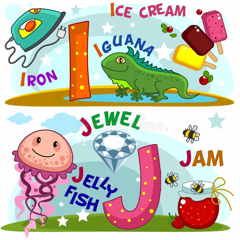 The letters i and j. English alphabet with letters i and j and pictures to them stock illustration