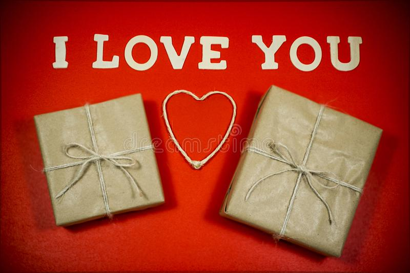 Valentine´s Day. I Love You and gifts royalty free stock photo