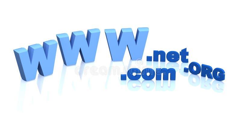 Letters the Internet-address - .net, .org, .com. Objects over white stock illustration