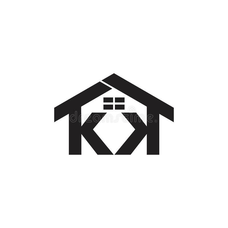 Letters kk house windows design logo vector. Unique unusual logo royalty free illustration