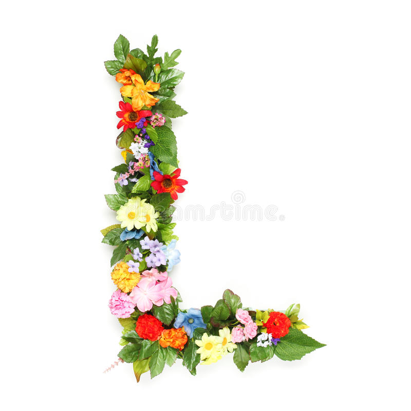Letters of leaves and flowers royalty free stock photography