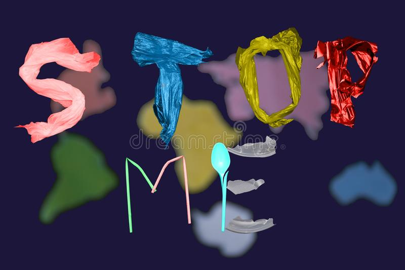 Letters located on a blue background. Stop the poison of toxic decomposition of the plastic. Letters arranged in a blue background, isolate. Stop the poison of stock images