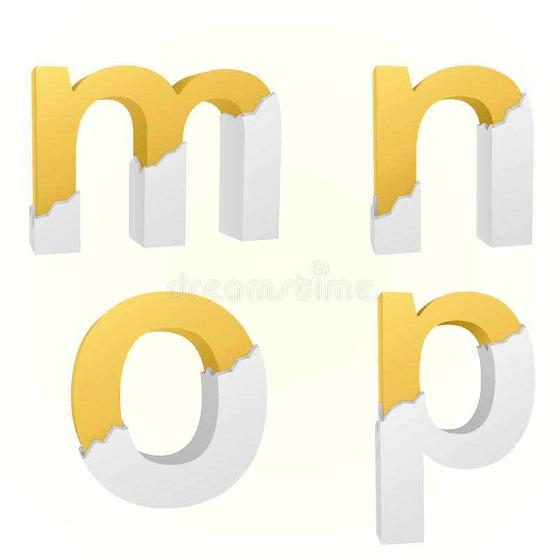 Font broken m to p. Letters m to p small color gold inside the white broken Letters vector illustration