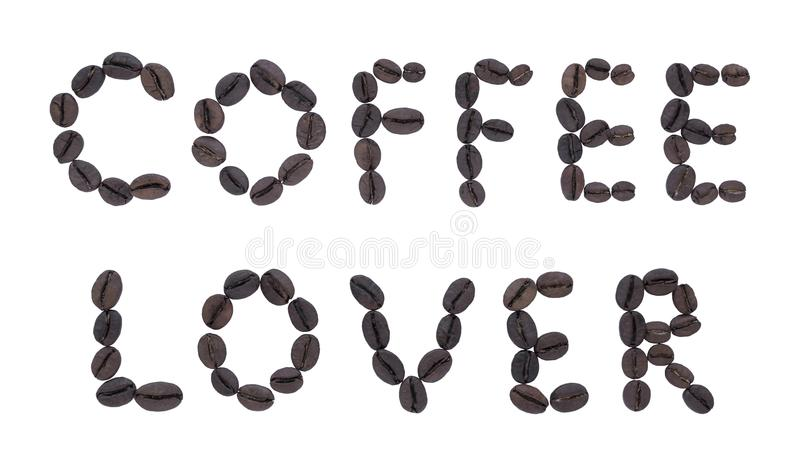 Letters made of fried coffee COFFEE LOVER. royalty free stock images