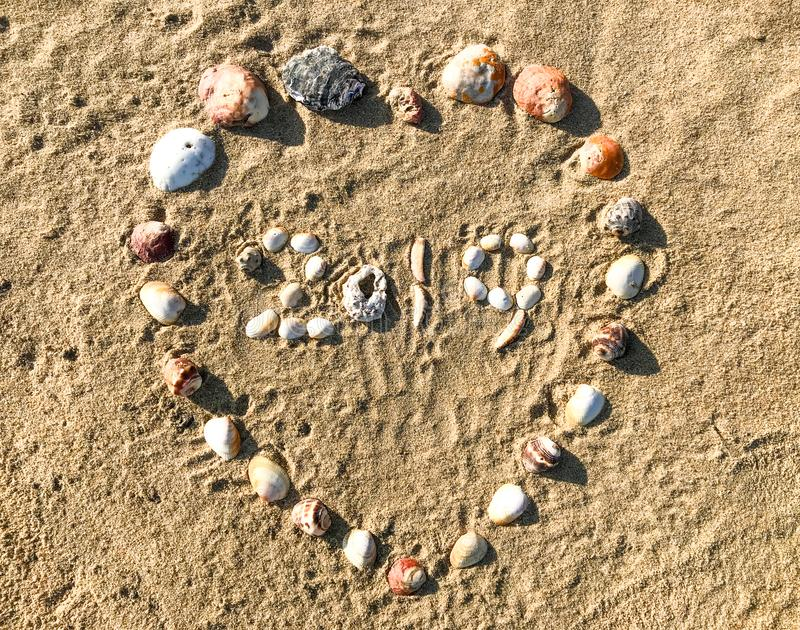 2019 letters made in heart shape of Seashells on the sand beach. royalty free stock photos
