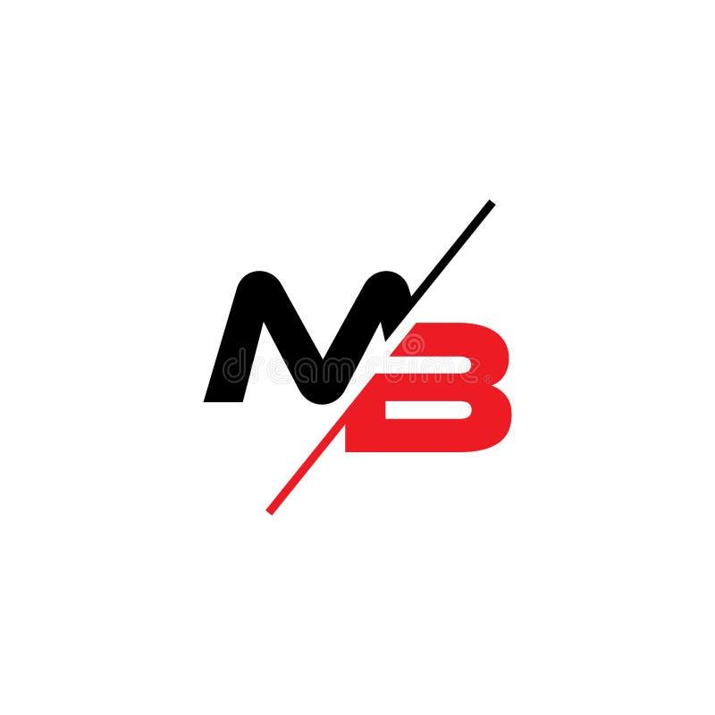Letters mb slice geometric logo vector. Unique unusual elegant simple luxury design royalty free illustration