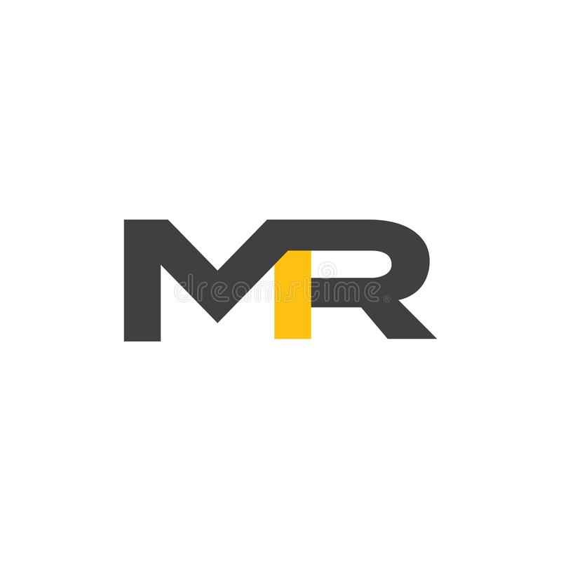 Initial MR Letter Logo Design Vector Template. Gold And