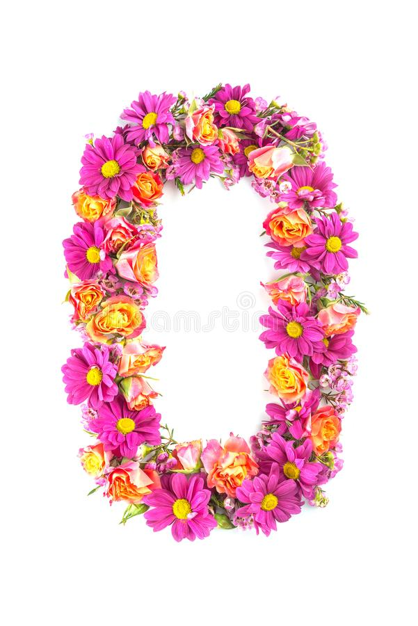Letters and numbers made from live flowers isolated on white background, make text with flowers alphabet, exclusive idea for graph royalty free stock images