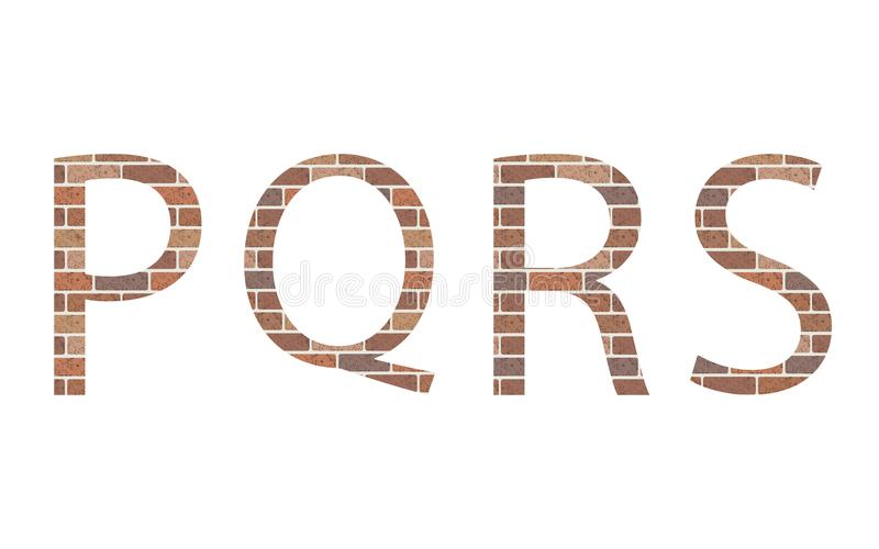 Letters PQRS in bricks. Vector royalty free illustration