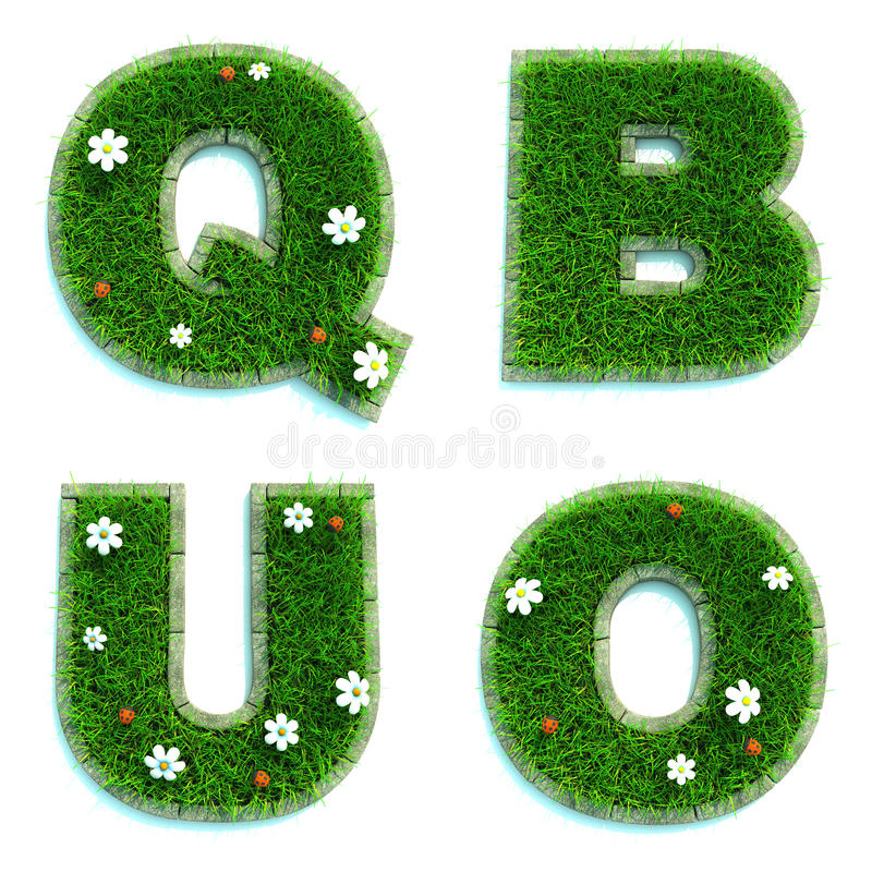 Letters Q, B, U, O as Lawn - Set of 3d. Letters Q, B, U, O - Alphabet Set of Green Grass Lawn with Flowers on White Background in 3d royalty free illustration