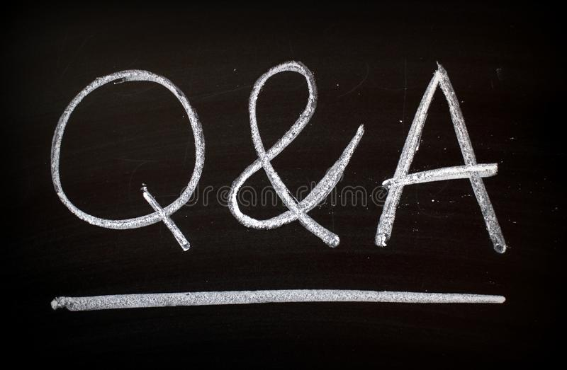 The letters Q & A on a Blackboard royalty free stock photography