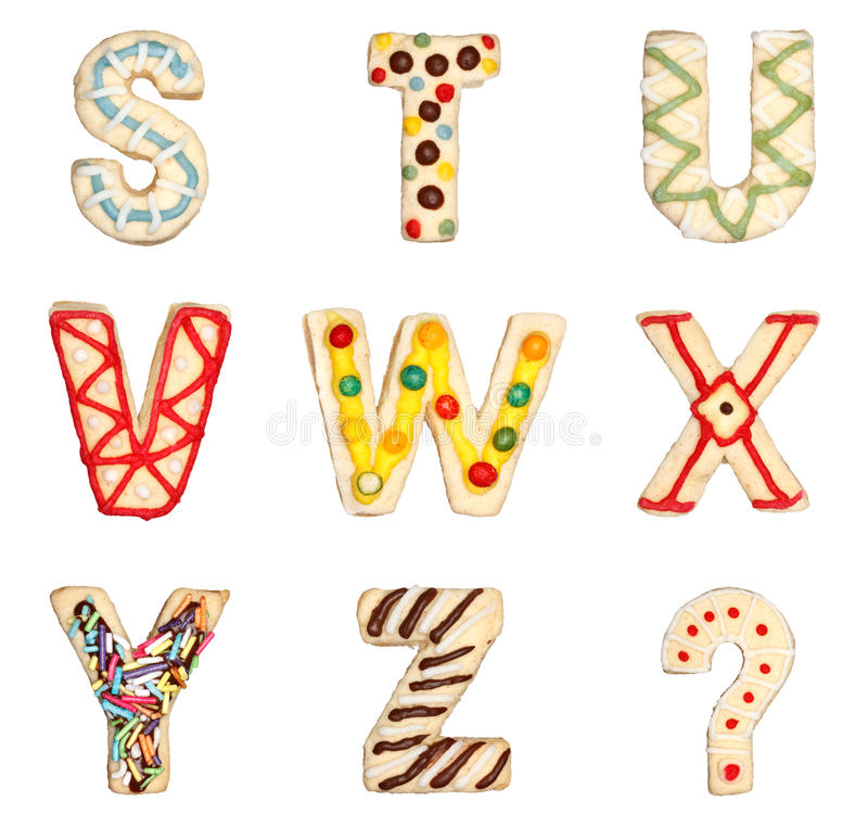 Download Letters S To Z From Decorated Cookies Stock Photo - Image of sweet, ornament: 27216792