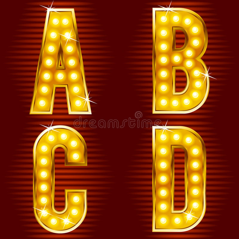 Letters for signs with lamps. A set of symbols for signs, such as a casino or cinema in the form of letters with lamps royalty free illustration