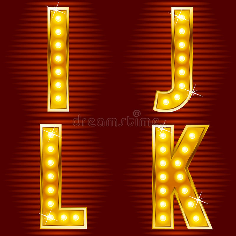 Letters for signs with lamps. A set of symbols for signs, such as a casino or cinema in the form of letters with lamps stock illustration