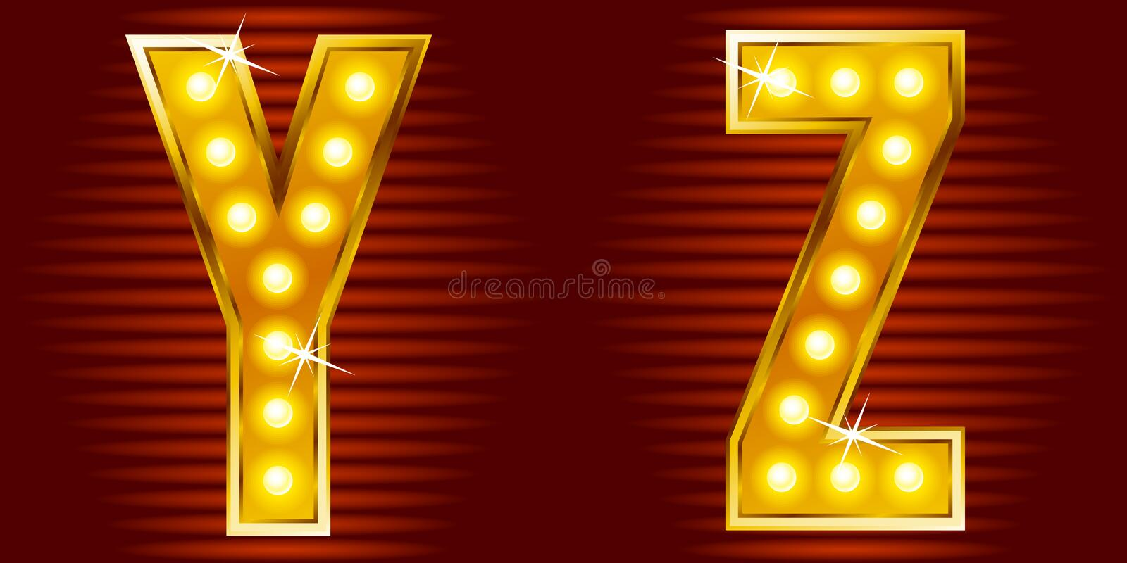 Letters for signs with lamps. A set of symbols for signs, such as a casino or cinema in the form of letters with lamps vector illustration