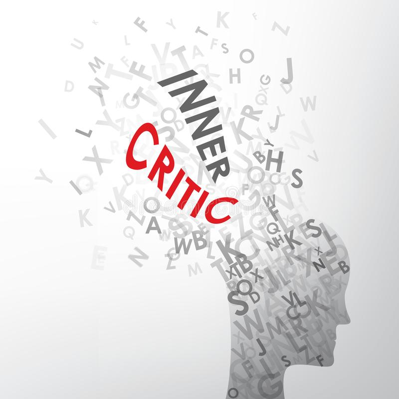 Letters spelling INNER CRITIC exploding out of human head. Red and grey letters spelling INNER CRITIC exploding out of silhouette of a human head. Square format vector illustration