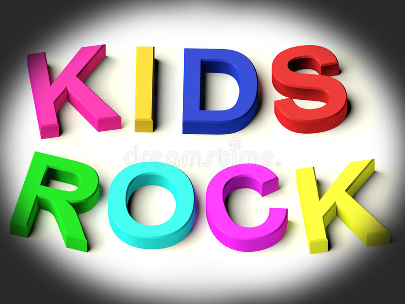 Letters Spelling Kids Rock As Symbol for Childhood. Coloured Letters Spelling Kids Rock As Symbol for Childhood And Children royalty free illustration