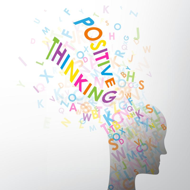 Letters spelling POSITIVE THINKING exploding out of human head stock illustration