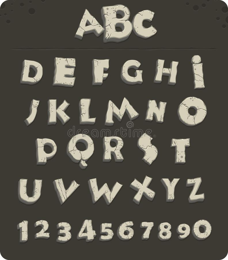 Old stone alphabet. Letters from the Stone Age with cracks, vector font stock illustration
