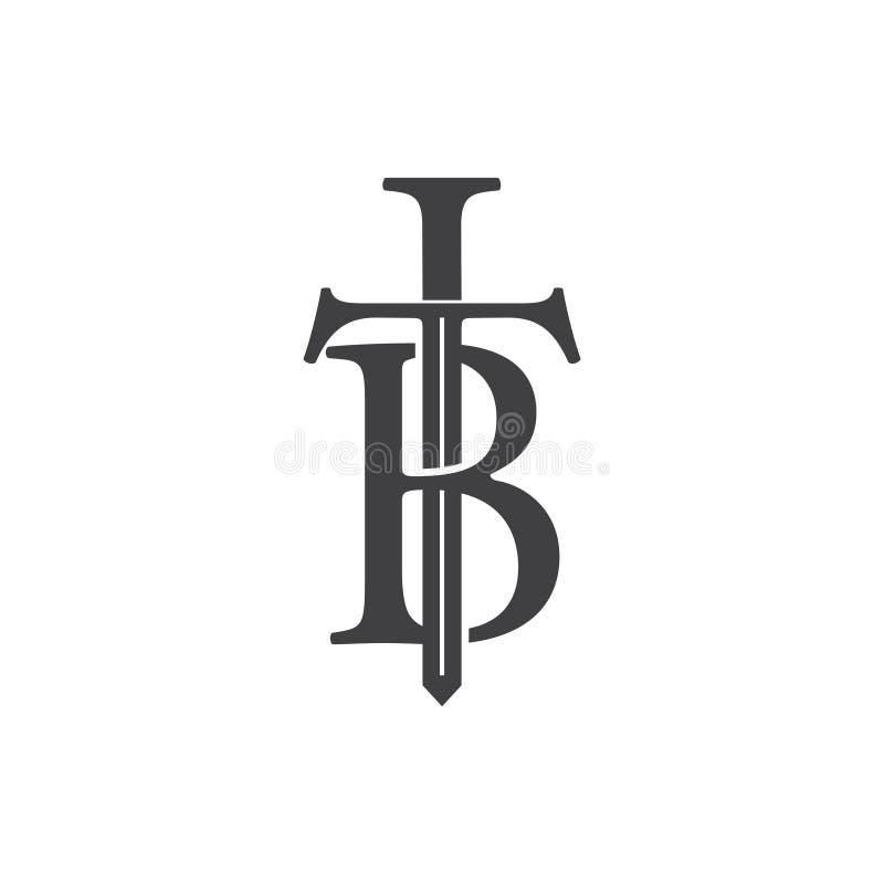 Letters tb sword shape logo vector. Unique unusual luxury elegant simple design royalty free illustration